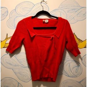 Anthropologie Cropped Red Sweater Moth